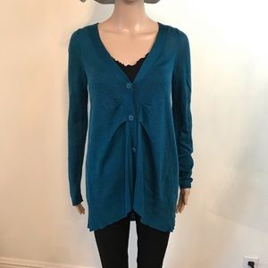 Anthropologie Moth Green Cardigan Ruffle